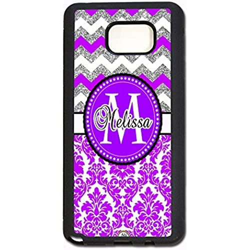 ArtsyCase Purple Damask Silver Chevron Monogram Personalized Name Phone Case - Samsung Galaxy S7 Edge (Black) Sales
