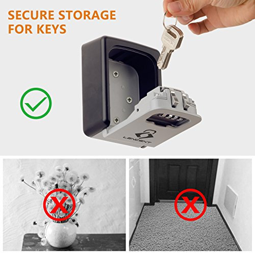 Key Storage Box with Strong 4-Digit Combination to Share and Secure Keys for Home Lencent Wall Mounted Key Safe Office Etc. Key Lock Box
