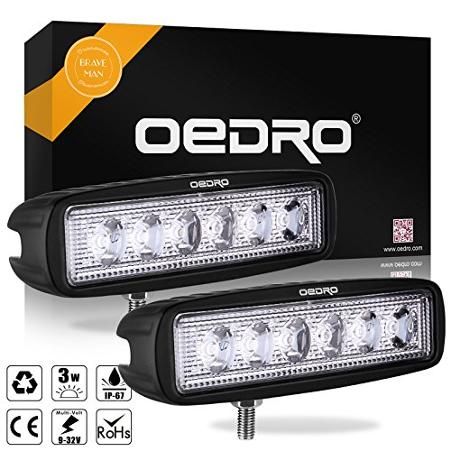 oEdRo LED Light Bar 2pcs 6 Inch 18W LED Work Light Off Road Lights Car Boat Lights Fog Driving Light Lamp Compatible for UTE SUV 4X4 4WD ATV Jeep 3 Years Warranty (Flood LED Work Light)
