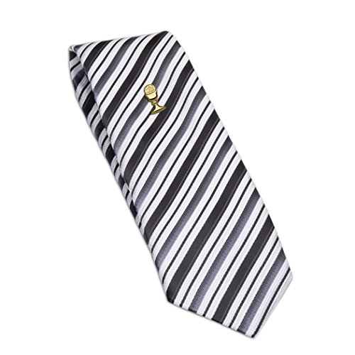 Boys Black Striped Tie and Gold Chalice Tie