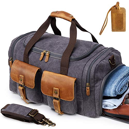 6de5d7c696 Kemy s Canvas Duffle Bag Oversized Genuine Leather Weekend Bags for Men and  Women