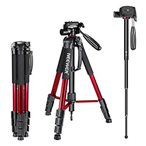 Neewer Portable Aluminum Alloy Camera Tripod Monopod 70inches/177centimeters with 3-Way Swivel Pan Head, Carrying Bag for Canon Nikon Sony DSLR Camera Camcorder up to 8.8 pounds/4 kilograms (Red)