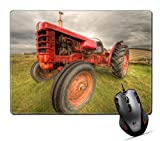 """Custom Mouse Pad,MSD 9.8""""x7.9"""" Unique Printed Mouse Mat Design for tractor agriculture farm farming rural wheel red machinery field equipment agricultural countryside vehicle old country"""