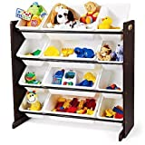 Espresso Kids Toy Storage Organizer with 12 Plastic Bins, 8 Regular Size Bins and 4 Double-size Bins, Sturdy wood construction, 12 Rugged Plastic Bins, Bundle with Expert Guide for Better Life