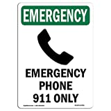 OSHA Emergency Sign - Phone 911 Only with Symbol | Choose from: Aluminum, Rigid Plastic or Vinyl Label Decal | Protect Your Business, Construction Site, Warehouse & Shop Area |  Made in The USA