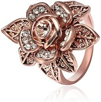 Teniu Rose Gold Micro Diamend Ring Flower Ring Finger Ring Female Retro Fashion Jewelry
