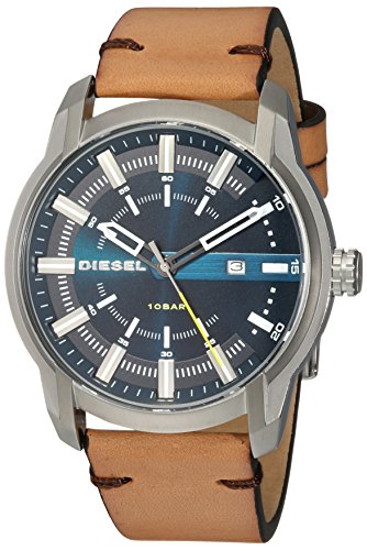 Diesel Men's Armbar Stainless Steel and Leather Casual Watch, Color: Silver-Tone, Brown (Model: DZ1847) -