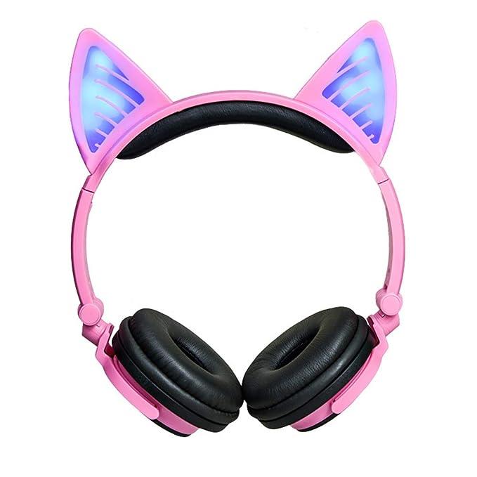 Amazon.com: GLDMT Head-Mounted Bluetooth Earphone Cat Ears Fashion Girl Headphones Outdoor Sports Portable Earphone Folding Wire-Controlled Universal ...