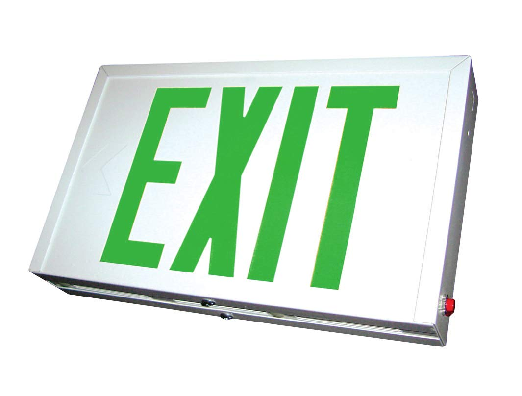 Exit Sign with Durable Steel Housing & Long Life LED, Green Letters, White Housing, AC Only, Dual 120/277 V