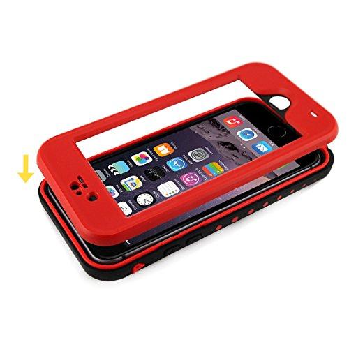 Alienwork Schutzhülle für iPhone 6 Plus/6s Plus geeignet für Fingerabdruck Hülle Case Bumper Wasserdicht Staubdicht Schneedicht Plastik rot AP6P11-04
