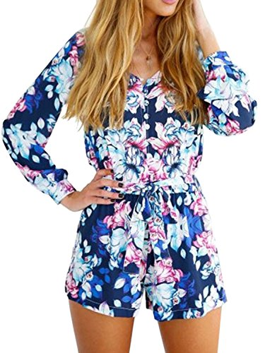 Choies Womens Floral Chiffon Playsuit