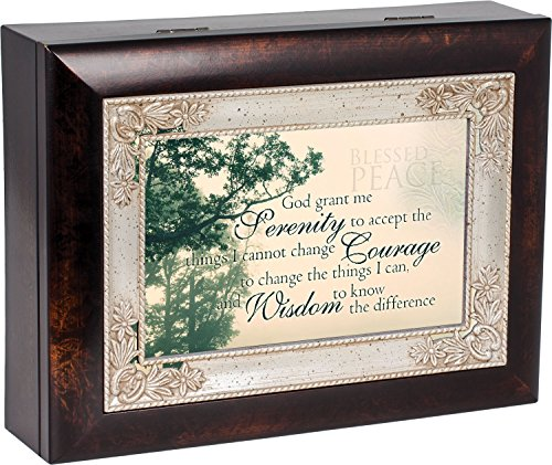 The Serenity Prayer Dark Wood Finish Jewelry Music Box Plays Tune How Great Thou - Serenity Music Box