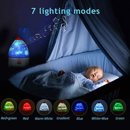 Luce Notturna Bambini, 7 colori che cambiano, 4 Musica Luce rotante per telecomando a 360 ° e timer, per la festa di compleanno della cameretta dei bambini