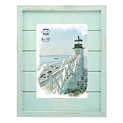 PRINZ Seaside Wood Plank Frame, 8 x 10, Aqua - Aqua wood plank frame with groove detail Hand distressed finish Two-way easel for vertical or horizontal display - picture-frames, bedroom-decor, bedroom - 516UU37wd6L. SS400  -