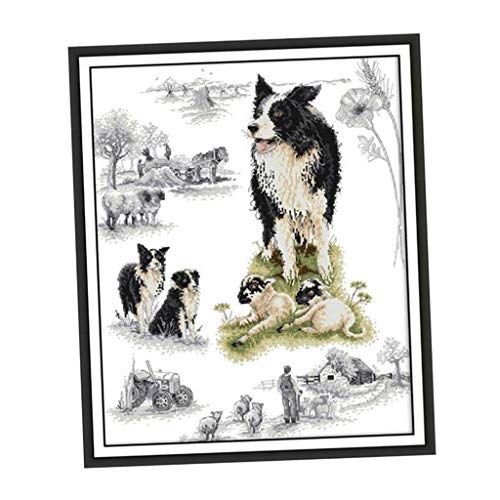 LoveinDIY Animals Dogs Cross Stitch Stamped Kits Quilt Pre-Printed Cross-Stitching Patterns for Beginner Kids Adults, Embroidery Crafts Needlepoint Starter Kits - 58x69cm 11CT