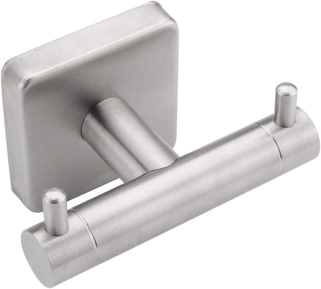 """Wall Mount Stainless Steel Coat Hanger w 4 Heavy Duty Hooks 11/"""" Brushed Nickel"""