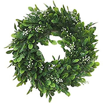 Coxeer 10In Artificial Green Leaves Wreath Greenery Hanging Boxwood Wreath for Front Door Wedding Wall Window Party Décor, Indoor/Outdoor Use (10In)