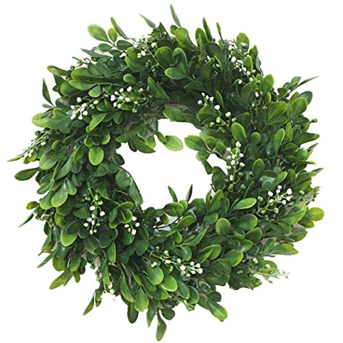 - Coxeer 10In Artificial Green Leaves Wreath Greenery Hanging Boxwood Wreath for Front Door Wedding Wall Window Party Décor, Indoor/Outdoor Use (10In)