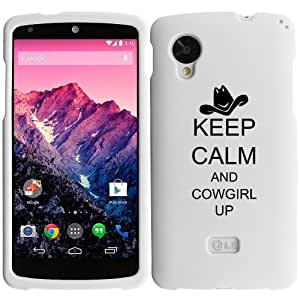 LG Google Nexus 5 Rubber Hard 2 Piece Snap On Case Cover Keep Calm and Cowgirl Up (White)