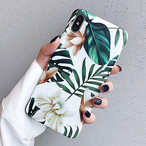 (iPhone Xs Max Case for Girls, ooooops Green Leaves with White & Brown Flowers Pattern Design, Slim Fit Clear Bumper Soft TPU Full-Body Protective Cover Case for iPhone Xs Max 6.5'' (Leaves & Flowers))