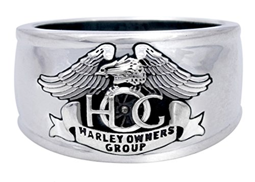 Harley-Davidson Mens .925 Silver Hog Cigar Band Ring (13)