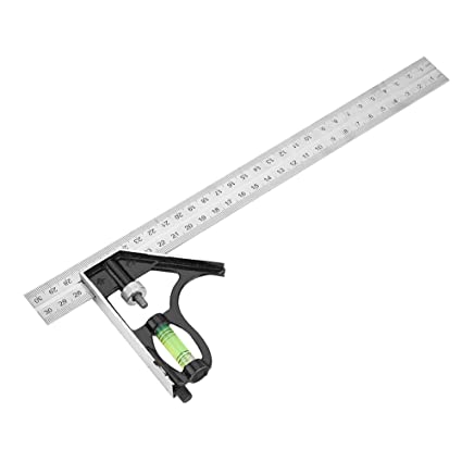 Fdit Metal Adjustable Combination Right Angle Ruler Engineer Measuring Tool 300 mm 12 inch