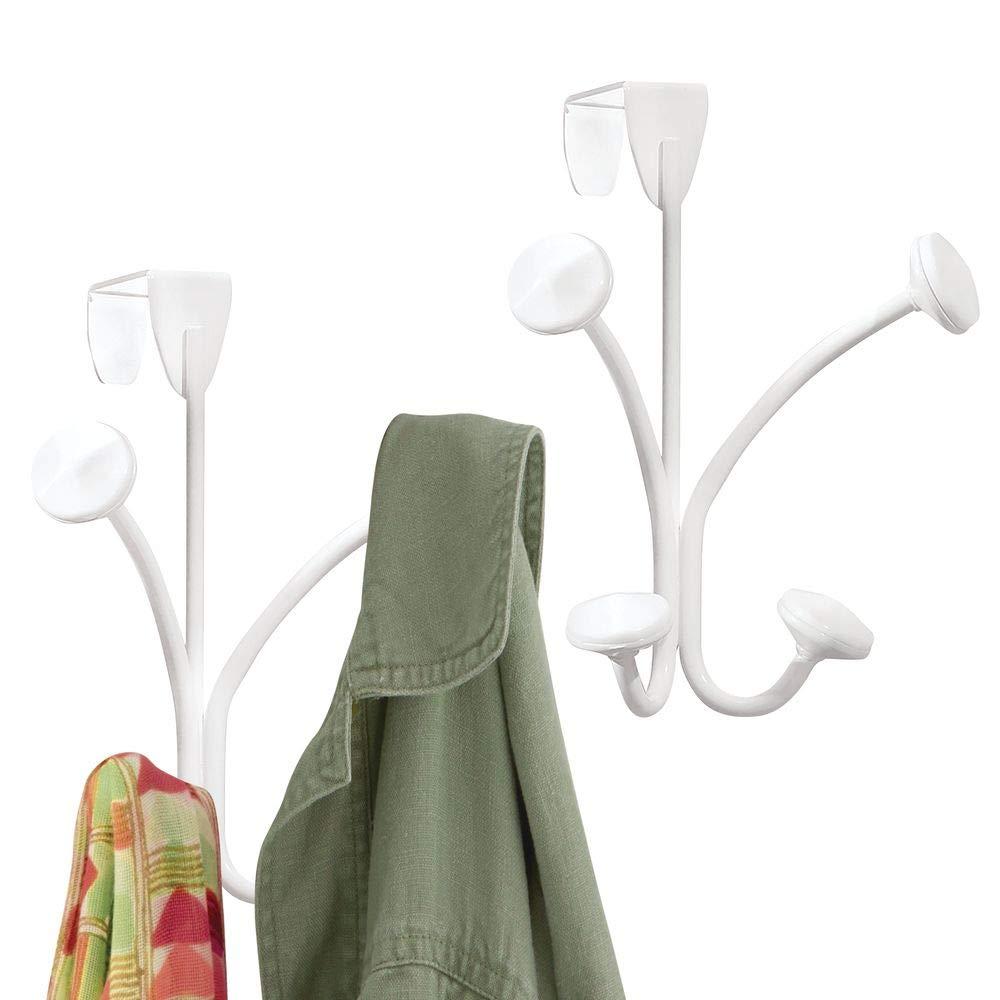 mDesign Juego de 2 cuelga ropa para abrigos, sacos, pañuelos y más – Perchero de puerta metálico – Colgador de puerta con 2 ganchos dobles – Para ...
