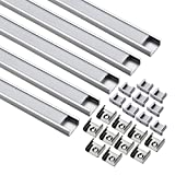 uxcell Aluminum LED Channel - 0.5Meter/1.64ft Led Channels and Milky Covers with End Caps and Mounting Clips for LED Flexible Light Strip Mounting (CN610, 0.5mx15.55mmx5.9mm) - 5 Packs