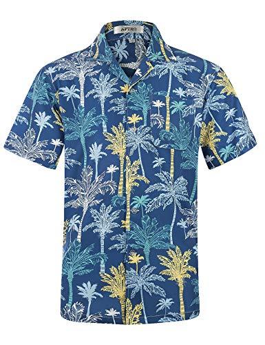 Men's Hawaiian Shirt Short Sleeve 4 Way Stretch Regular Fit Beach Aloha Shirts (L, Hawaii-Blue)