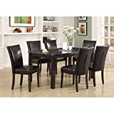 Monarch Specialties Leather-Look High Dining Chair, 38-Inch, Brown, Set of 2