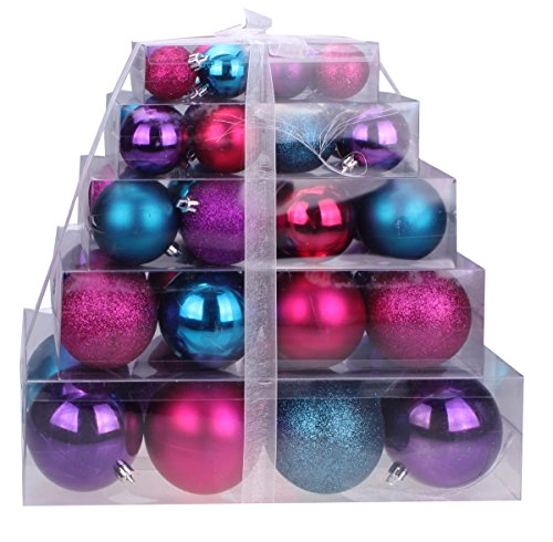 Amazon Christmas Purple Pink And Blue Shatterproof Orbs Ornaments Cake Box
