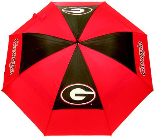 "Team Golf NCAA Georgia Bulldogs 62"" Golf Umbrella with Protective Sheath, Double Canopy Wind Protection Design, Auto Open Button"
