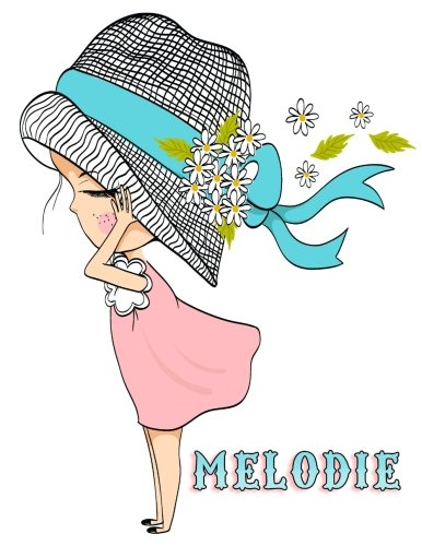 "Download Melodie: Journal, Notebook, Diary, 105 Lined Pages, Personalized Book with Name, 8 1/2"" x 11"", Birthday, Best Friend, Christmas Gifts for Girls and Women PDF"