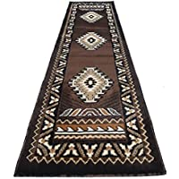 Rugs 4 Less Collection Southwest Native American Indian Long Runner Area Rug Design R4L 143 Chocolate / Brown (24x1011)