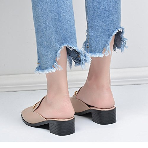 Dressy Loafer JULY Shoes T Mule On Ladies Womens Slip Slide apricot Casual Fashion Heel Backless H470qC7