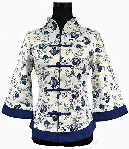 Rseobl Spring Traditional Chinese Style Women's Linen Jacket Coat Flowers Plus Size S M L XL XXL XXXL 4XL 5XL White Bluexxl