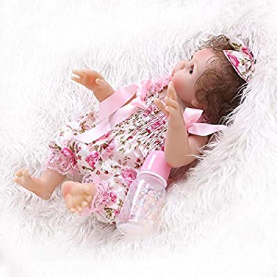 TERABITHIA 18inch 47cm Silicone Vinyl Full Body Reborn Baby Girl Dolls Preemie Washable Newborn Doll Anatomically Correct in Pink Floral Pants: Toys & Games