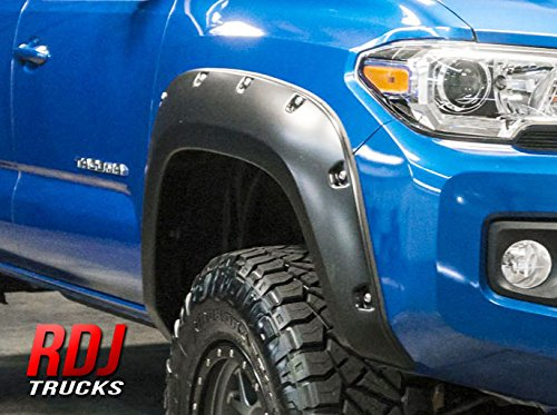 Price comparison product image RDJ Trucks PRO-Offroad Bolt-On Style Fender Flares - Fits Tacoma 2016-2019 - Set of 4 - Smooth Paintable OE Black