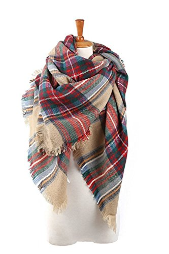 Spring fever Soft Lightweight Plaid Blanket Acrylic Cashmere Feel Elegant Scarf - Day 2 Free Shipping
