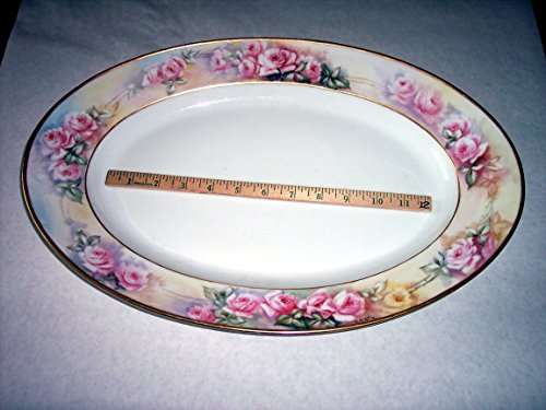 12x18 Large Serving Platter, CF Haviland Limoges France porcelain, Hand-painted signed E B Wile, Roses- intricate & detailed yet soft, gold rim, for Turkey Ham Etc. ()