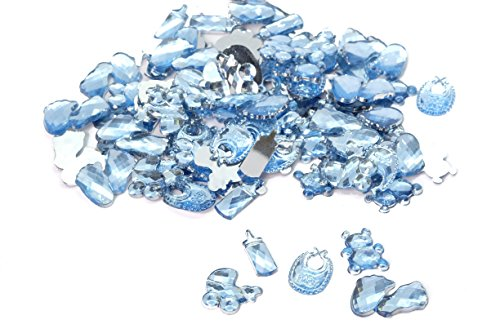 100 pcs Acrylic Pram Milk Bottle Teddy Bear Bib Crown Foot for Boys Blue Birthday Party Favor Decoration Baby Shower Crystal Rhinestone Table Confetti Party Decoration (Mixed) -