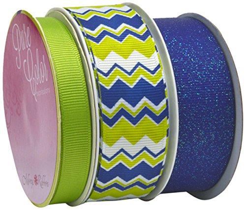 Morex Ribbon Chevron Party Ribbon (3 Pack), 24 yd, Blue/Lime