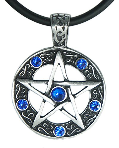 Exoticdream Color Star Pentagram Pentacle Pagan Wiccan Witch Gothic Pewter Pendant + 18