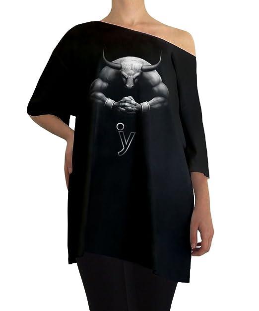 Iacobuccyounes – Camiseta de manga larga Negro Astrología Tauro Moda Diseño Algodón 100% Made in