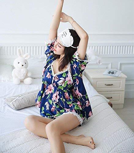 Tirantes Mangas Floreadas cuello Mujer Especial Sin Splice Larga Manga Cinturón Pijama Encaje Cintura V Estilo Verde Shorts Albornoz Camisola Con Media Batas Igqxx5wYO
