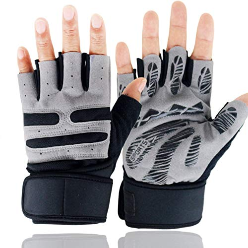 Men/Women Half Finger Silicone Non-Slip Barbell Weightlifting Fitness Gym Gloves Long Wrist Cycling Gloves A1