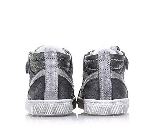 NERO GIARDINI - Zapatilla de cordones gris de cuero y tejido, con cierre de cremallera lateral, logo lateral, cordones verdes, costuras decorativas, Niño, Niños