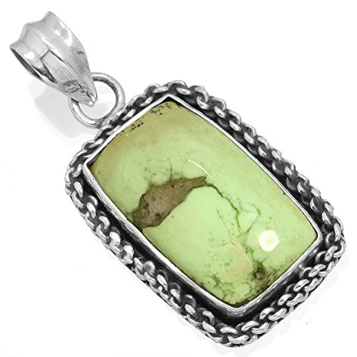 Natural Lemon Chrysoprase Gemstone Pendant Solid 925 Sterling Silver Stylish Jewelry