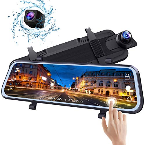 Bir Mirror Dash Cam 10 Inch Touch Screen Sony Front&Rear View Dual Lens for Car Backup with Guideline 1080P HD Waterproof Reverse Camerea Enhanced Night Vision【2 Year Warranty】