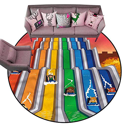 Slip-Resistant Washable Entrance Doormat Kids,Children on Slides Holiday Diameter 48
